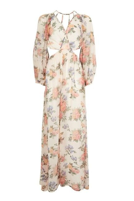 ae540e0d58637 Topshop Blush Pink Crinkle Floral Cutout Long Casual Maxi Dress Size 4 (S) -
