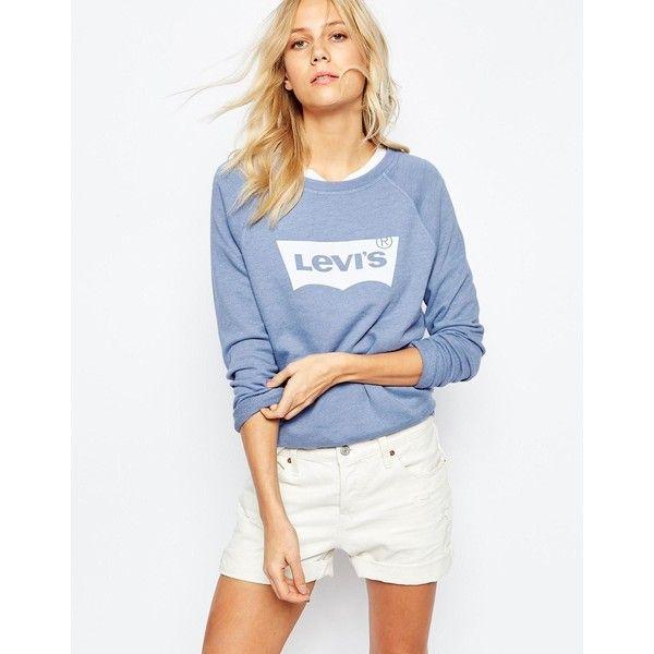 Levis Batwing Logo Sweatshirt (1 280 ZAR) ❤ liked on Polyvore featuring tops, hoodies, sweatshirts, blue, blue sweatshirt, white batwing top, batwing top, cotton sweatshirt and white cotton sweatshirt