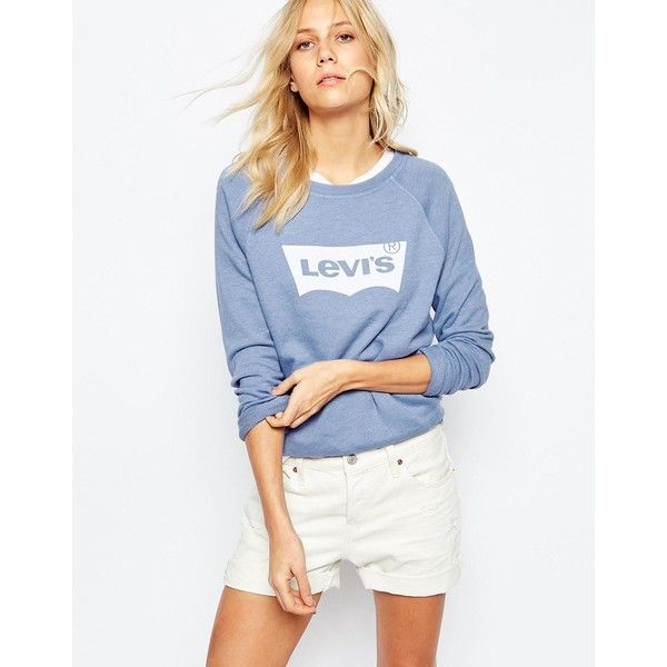 Levis Batwing Logo Sweatshirt (1 280 ZAR) ❤ liked on Polyvore featuring tops, hoodies, sweatshirts, blue, blue sweatshirt, white batwing top, batwing top, cotton sweatshirt and white cotton sweatshirt