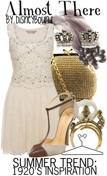 "1920's inspiration based on the song ""Almost There"" from ""The Princess & The Frog"" via DisneyBound."