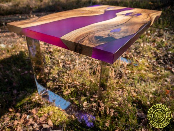 Deep purple resin coffee table with glowing resin
