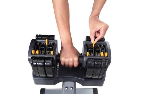Turbo Bell Adjustable Weight Dumbbell with Stand, TB560 by Performance Fitness Systems, http://www.amazon.com/dp/B000O1GPEA/ref=cm_sw_r_pi_dp_XDhQrb0KR1DTP