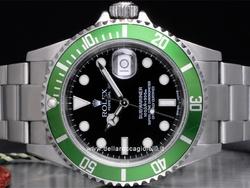Rolex Submariner Date - Ref. 16610LV - Edizione del 50° anniversario con cassa in acciaio 40mm - Lunetta unidirezionale verde con vetro zaffiro - Quadrante nero - Bracciale in acciaio Oysterlock chiusura Flip Lock -