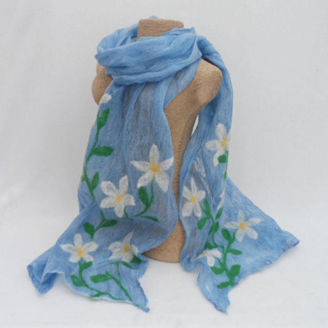 Scarf, nuno felted on cotton, blue with flowers £25.00
