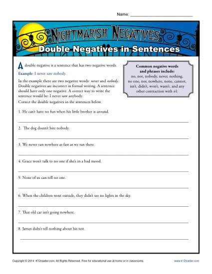 Double Negatives Worksheets. Beware of the nightmarish double negative! That's the message in this fun worksheet. Your student will rewrite the sentences to make them correct.