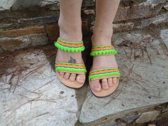 "Greek Leather Sandals ""Chloe"", Boho sandals, pom pom sandals, by Oniropolis"