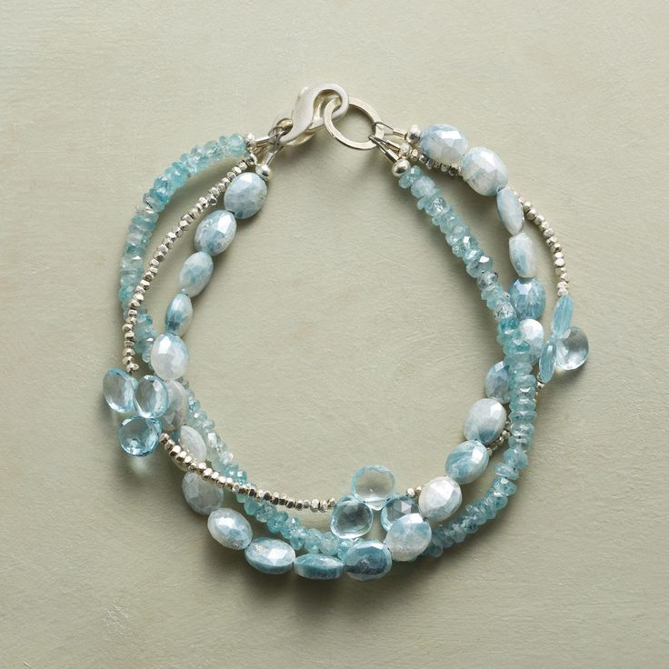 Pretty beading - ICE STORM BRACELET -- Sterling silver beads glisten among the cool hues of blue zircon, topaz and mystic sapphire in this bracelet. Sundance Catalog
