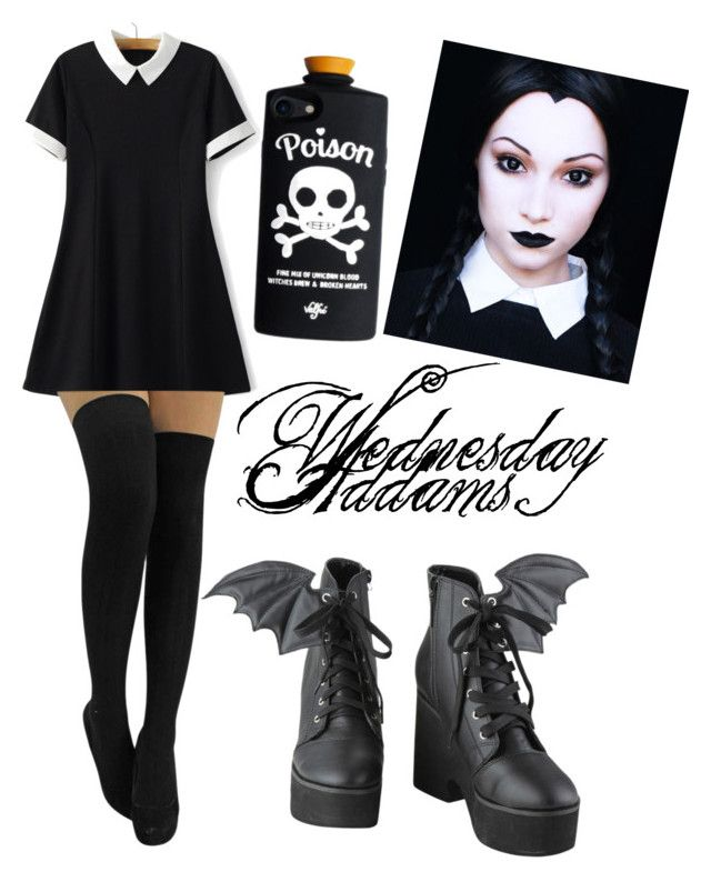 """""""Wednesday Addams Halloween"""" by slashbat on Polyvore featuring WithChic, Iron Fist, Halloween, gothic, wednesday, WednesdayAddams and halloweencostume"""