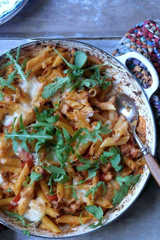 ovnsbakt pasta med chorizo