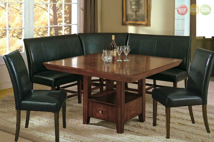Salem 6 pc Breakfast Nook Dining Room Set Table, Corner Bench Seating & 2 Chairs #CrownMark #Contemporary #TableChairSets