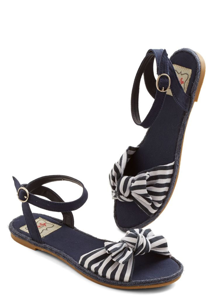 Tatyana/Bettie Page One Woman Cabana Sandal in Navy | Mod Retro Vintage Sandals | Big bow sandals with ankle straps.
