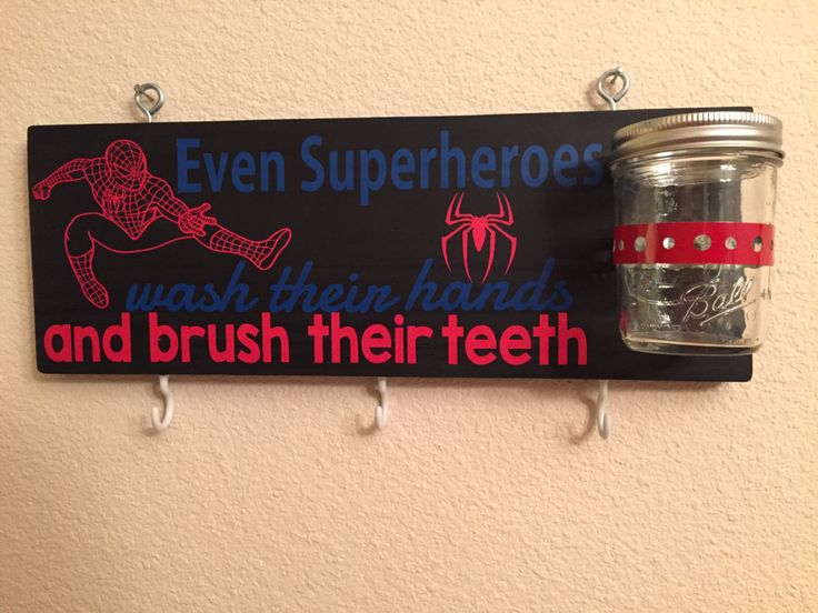SPIDERMAN Even Superheroes Wash Their Hands and Brush Their Teeth, Tooth Brush Holder and Towel Holder. SPIDERMAN - pinned by pin4etsy.com