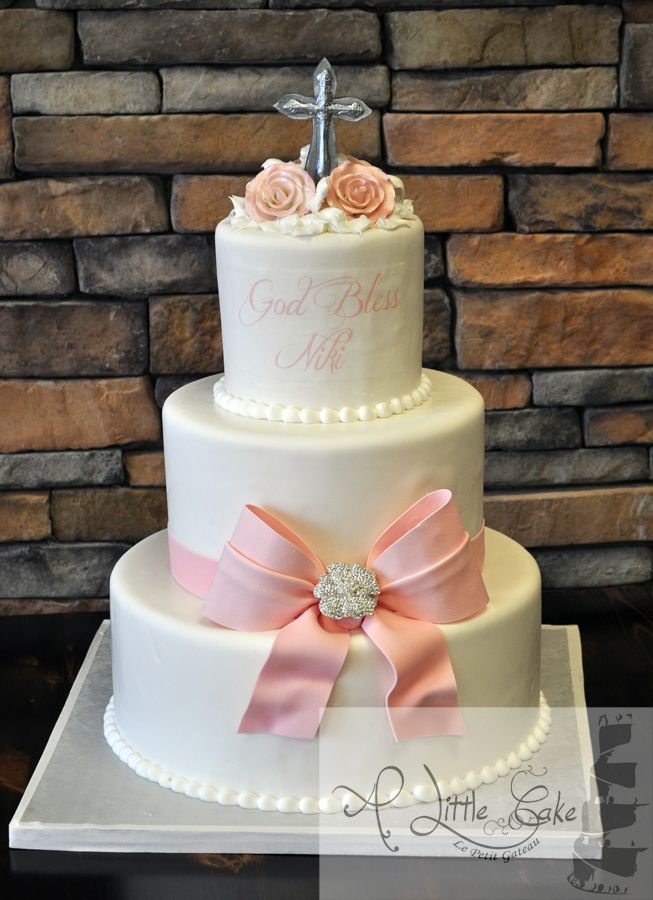 3 tier communion cake iced light sugar