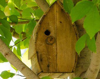 Primitive Rustic Wood Metal Birdhouse Clock by silverlininghome