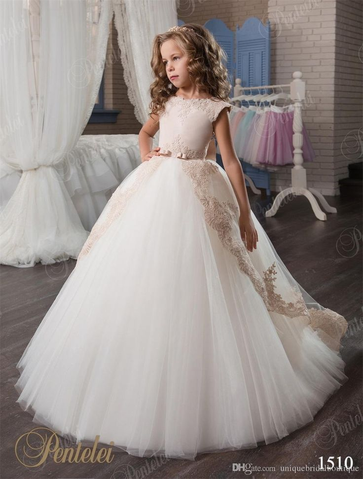 2017 Spring Pretty Flower Girls Dresses Pentelei With Cap Sleeves And V Back Appliques Tulle Princess Little Girls Birthday Gowns Mother Of The Bride Shoes Toddler Flower Girl Dresses From Uniquebridalboutique, $77.74| Dhgate.Com