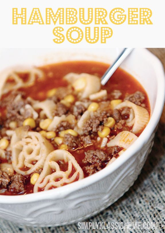 {hamburger soup}... 1 Tbls Olive Oil  1/2 a med sized onion, chopped  2 Tbls minced garlic  1 lb ground beef  1 can condensed tomato soup, plus 1 can water  2-14 oz. cans beef broth  1 small can of corn  1 cup uncooked small pasta