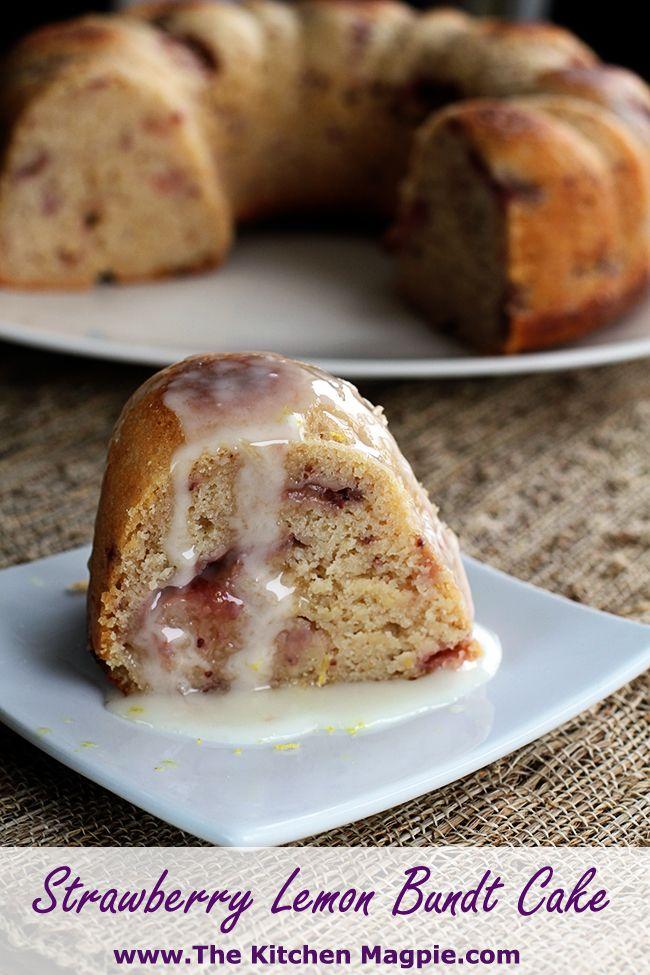 Lemon Strawberry Bundt Cake. #cake #recipes #food
