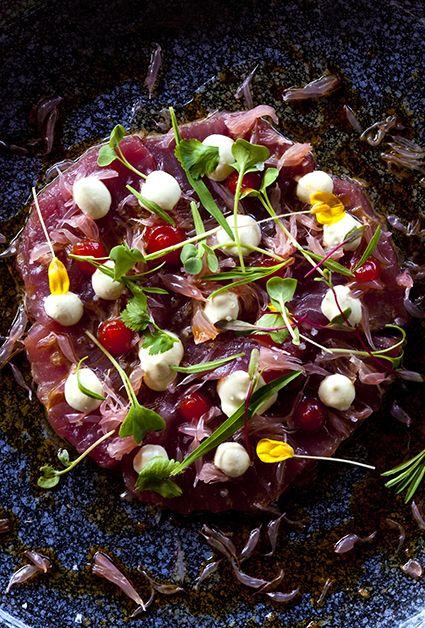 Tuna tartare with fresh yellowfin tuna, just caught in the bay