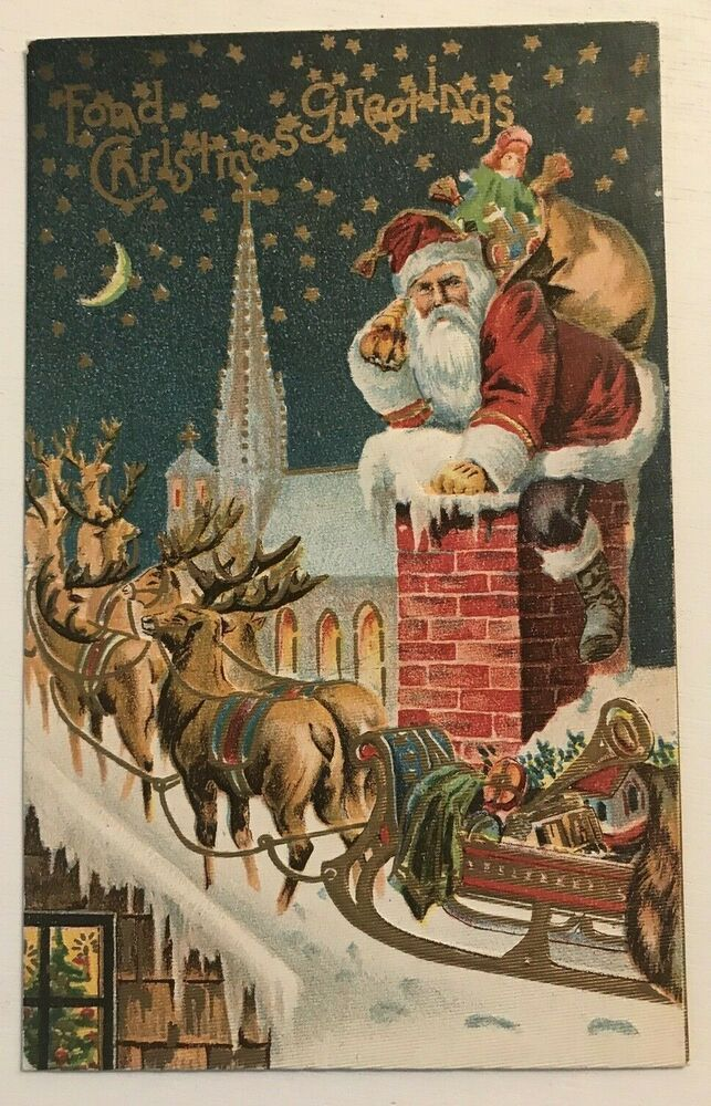 Christmas Santa Claus On Snowy Roof Toys Chimney Reindeer Embossed Postcard C766 Christmas Antique Christmas Christmas Postcard Animated Christmas