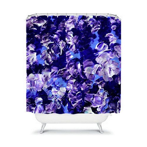 FLORAL FANTASY 2 Purple Blue Floral Fine Art Shower Curtain by EbiEmporium, Whimsical Colorful Abstract Flowers Periwinkle Lavender Indigo Blue Stylish Modern Chic Girly Cool Bathroom Home Decor Decorative Contemporary Dorm Room Design #shower #showercurtain #curtain #homedecor #bathroom #bathromdecor #decoration #decor #dorm #colorful #purple #blue #periwinkle #lavender #indigo #flowers #floral #art #fineart #abstract #painting