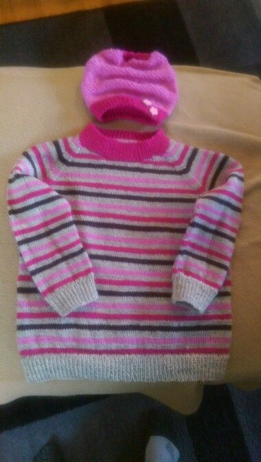 Rest garn genser med ragland ,,klompe lompen lue