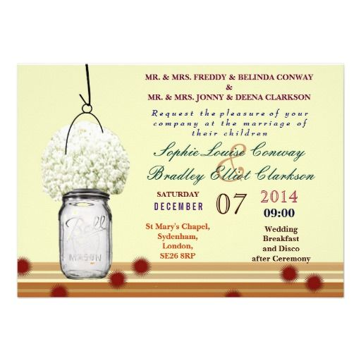 Rustic Baby's Breath & Mason Jar Wedding Custom Invites