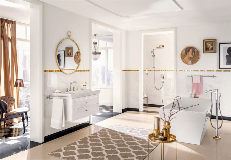 Metropol Classic offers aesthetic solutions for all applications in a stylish bathroom with golden accessoires. #hansgrohe #Metropol #Classic