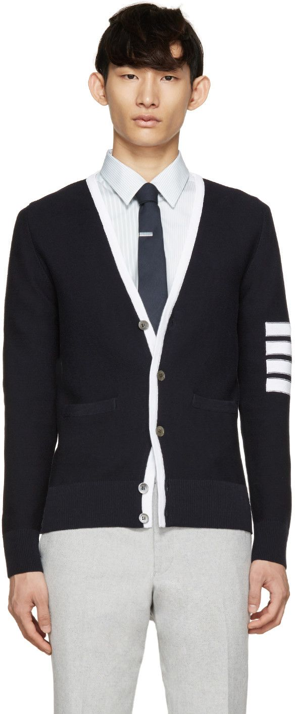 Thom Browne Navy & White Striped Armband Cardigan