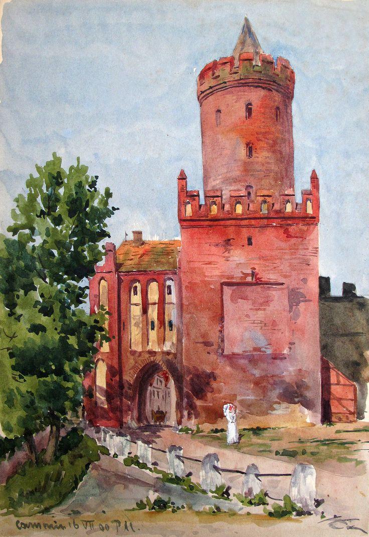 Stadttor von Kammin (Kamien Pomorski) aus dem Jahre 1900. Bearbeitetes Foto vom Original eines Aquarells des Architekten Karl Wischke