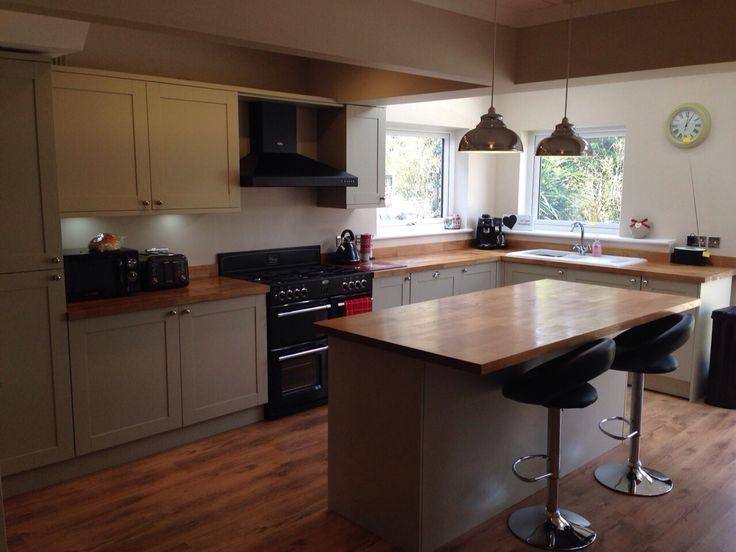 Open plan kitchen; Amersham units with solid oak worktops