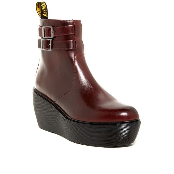 Dr. Martens Caitlyn Wedge Boot (156 675 LBP) ❤ liked on Polyvore featuring shoes, boots, ankle booties, ankle boots, oxblood brando, short boots, platform wedge boots, platform wedge bootie and wedge heel booties