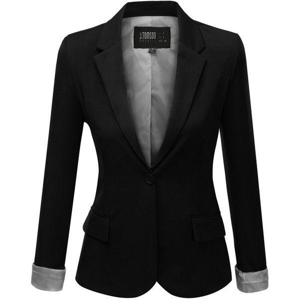 J.TOMSON Womens Boyfriend Blazer (23 CAD) ❤ liked on Polyvore featuring outerwear, jackets, blazers, tops, coats, black boyfriend blazer, boyfriend jacket, boyfriend blazer, black boyfriend jacket and black blazer