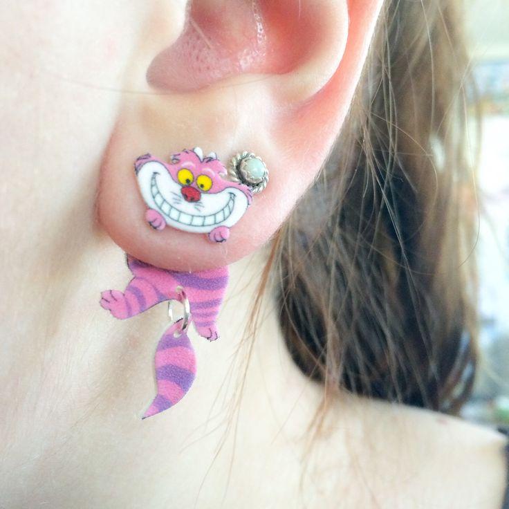 Alice In Wonderland inspired Cheshire Cat Dangle Fake Gauge Earrings by AlexsMisfitToys on Etsy https://www.etsy.com/ca/listing/228365076/alice-in-wonderland-inspired-cheshire