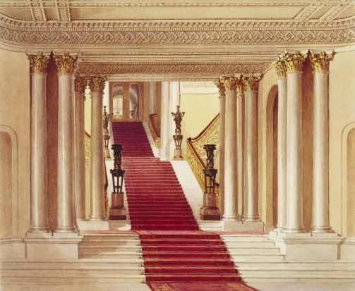 The stairs leading to the Marble Hall and Grand Staircase                                                                                                                                                                                 More