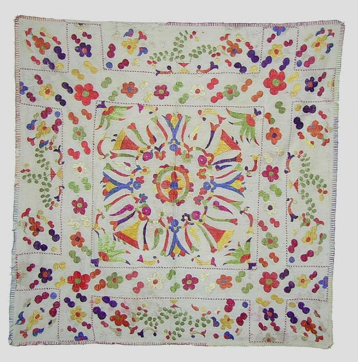 Chamba Rumal, Himachal Pradesh, North India. Cotton, Silk 80cm x 80cm Embroidered Early 20th century Krishna and Gopis dancing (rasa leela)   rugrabbit.com