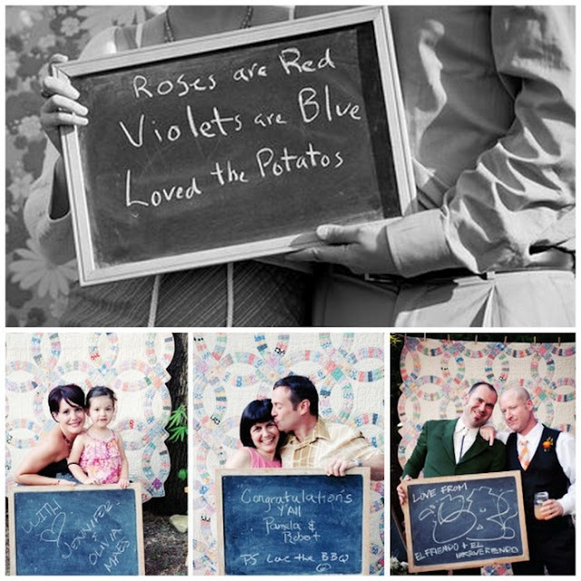 Sign guestbook with chalkboard message?