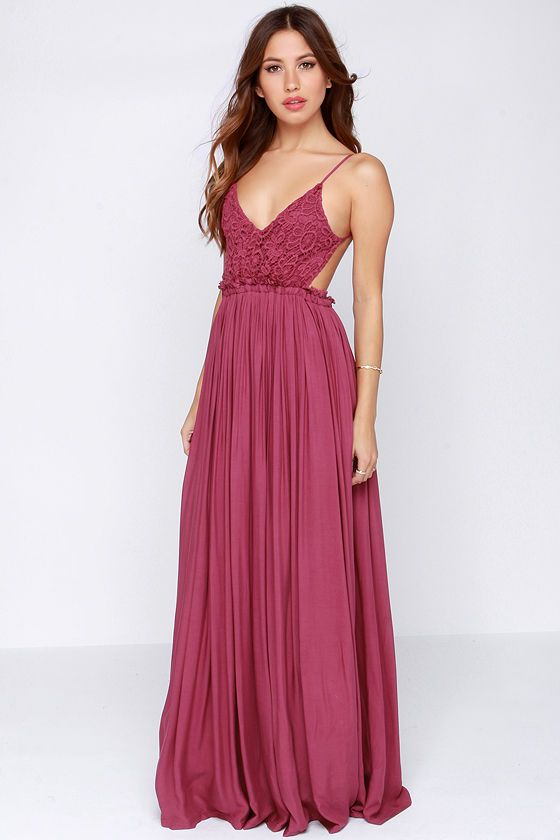 Blooming Prairie Crocheted Berry Pink Maxi Dress Want