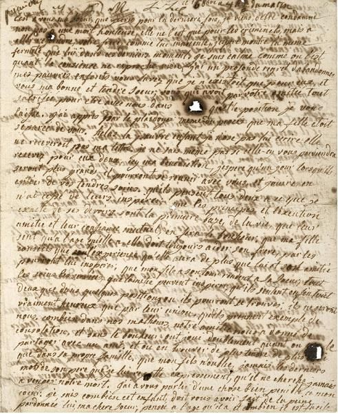 Marie Antoinette's last letter to her children, stained by tears.