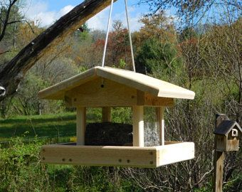 Cedar Bird Feeder, Four Sided Bird Feeder,Cable Hanging, Large Bird Feeder