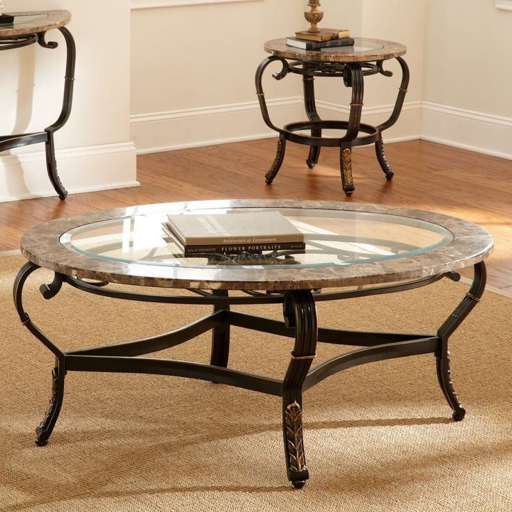Antique Round Coffee Table With Glass