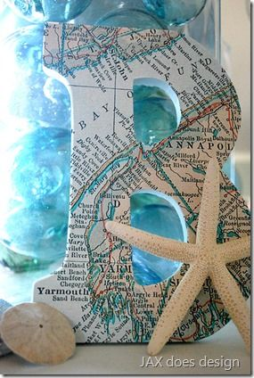 Map #decoupage on wood #letters that spell out beach. More decoupage ideas on Completely Coastal: http://www.completely-coastal.com/2012/06/map-decoupage-ideas-for-canvas-dressers.html