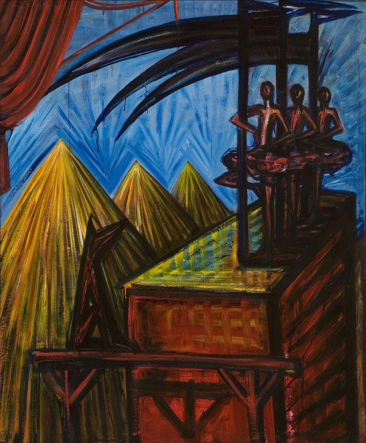 El Kazovszkij: Cím nélkül (Kaszás párkák) / Untitled ( Fates With Sycthes) - é.n. /undated - 121x90,5 cm - olaj, fatábla / oil on woodpanel