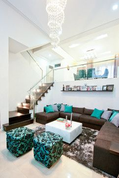 Beautiful Brown And Teal Living Room Design Ideas, Pictures, Remodel And Decor