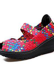 Mujer Zapatos PU Primavera Otoño Confort Sandalias Tacón Cuña Punta abierta para Casual Naranja Morado Fucsia Verde
