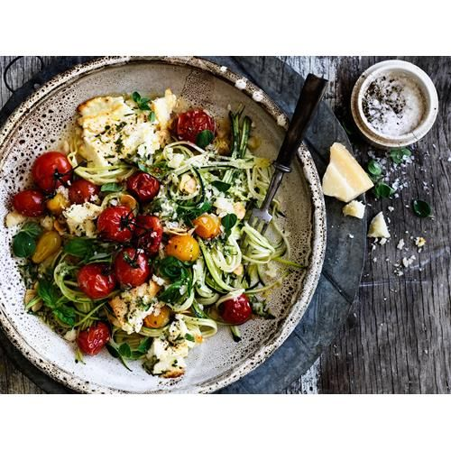 Zucchini 'spaghetti' with tomato and fetta recipe - By Australian Women's Weekly, Spaghetti-like strands are created from zucchini in this recipe instead of any actual pasta, which also makes this dish a great gluten-free option.