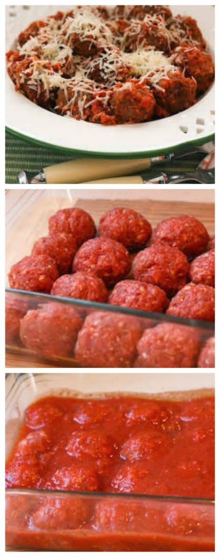 Beef and Sausage Meatballs in Tomato Sauce; this is an easy and family-friendly dinner that everyone will enjoy! [from KalynsKitchen.com] #Meatballs #KidFriendly