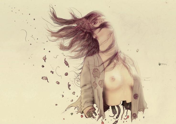 """""""replicante otoño"""" - ilustración (tinta sobre papel, coloreado digital)"""