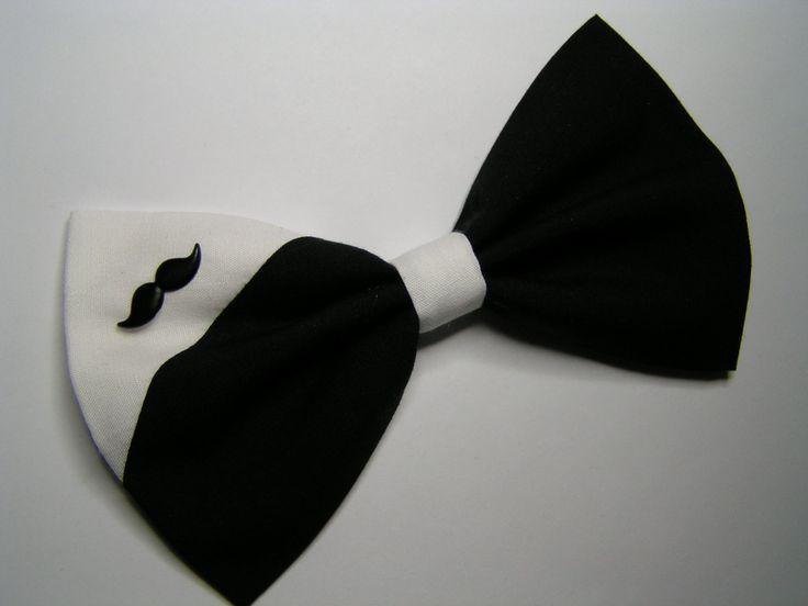 Black and White Mustache Hair Bow, hair bow, Large Hair Bow for teens and women, Kids hair bows, Hair bows. $5.00, via Etsy.
