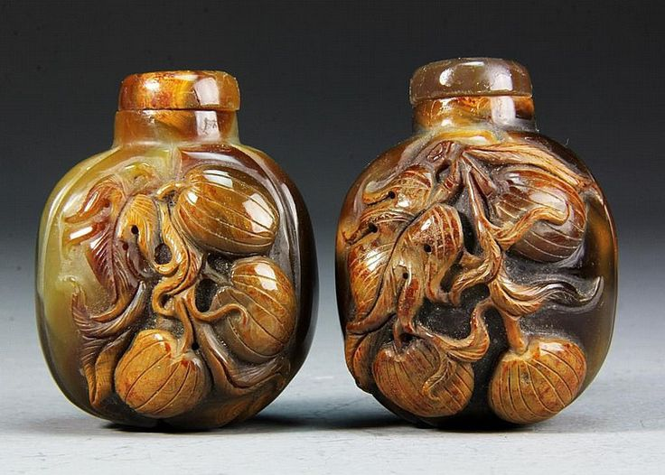 2 Chinese Carved Agate Snuff Bottles | eBay