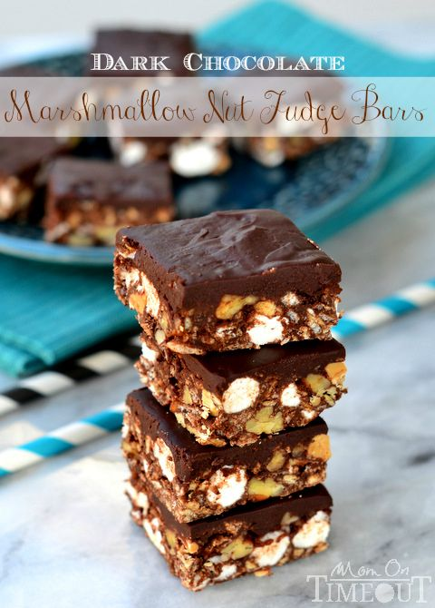 Dark Chocolate Marshmallow Nut Fudge Bars - Mom On Timeout